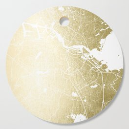 Amsterdam Gold on White Street Map Cutting Board