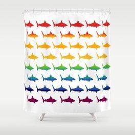 Rainbow Sharks Shower Curtain
