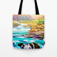 river Tote Bags featuring River by Liam Brazier