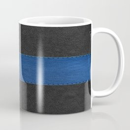 Black and blue vintage faux leather Coffee Mug