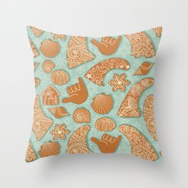 Gingerbread Skegs and Shakas Throw Pillow