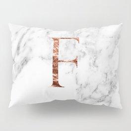 Monogram rose gold marble F Pillow Sham