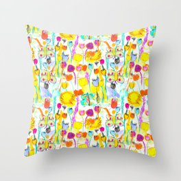 Childhood Butterfly's in a Spring Garden Throw Pillow
