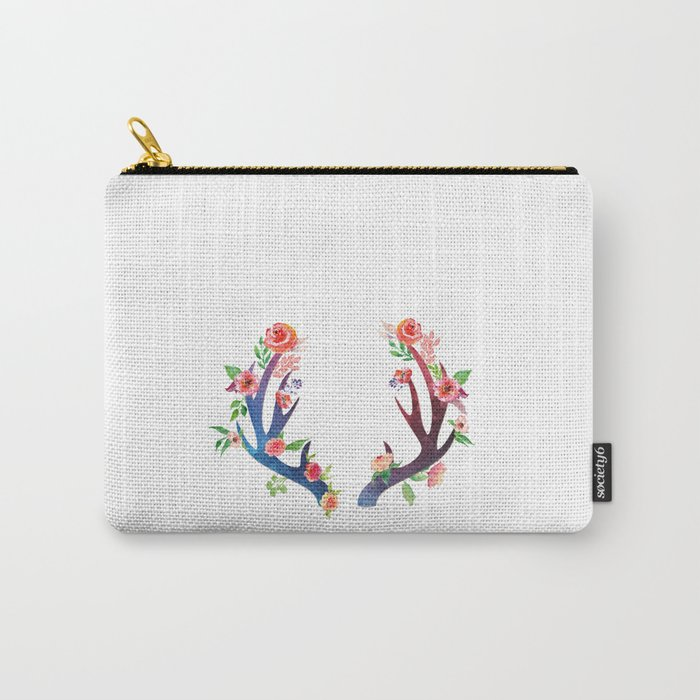 Roses and Antler - Floral flowers  watercolor Illustration Carry-All Pouch