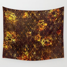 Diamond Rose Pattern - Maroon and Gold Wall Tapestry