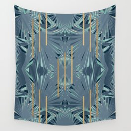Tropical Art Deco 1.1a Blue, Green, Gold Wall Tapestry