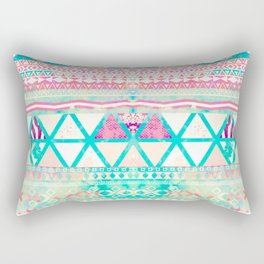 Pink Teal Aztec Pattern Triangles Girly Watercolor Rectangular Pillow