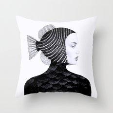 Woman Fish II Throw Pillow
