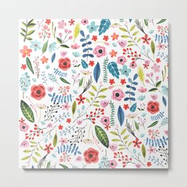 Cute colorful botanical flowers and leafs pattern Metal Print