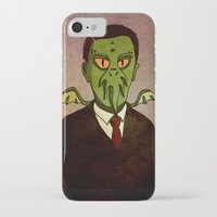 lovecraft iPhone & iPod Cases featuring Prophets of Fiction - H.P. Lovecraft /Cthulhu by niles yosira