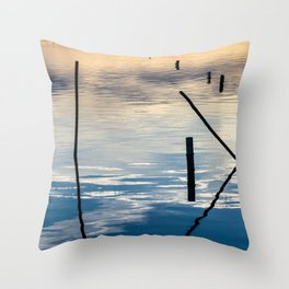 Pieces of wood reflection Throw Pillow