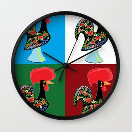 Portuguese Rooster Cluster Wall Clock