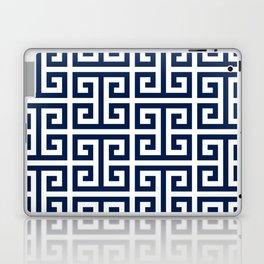 Dark Navy Blue and White Greek Key Pattern Laptop & iPad Skin