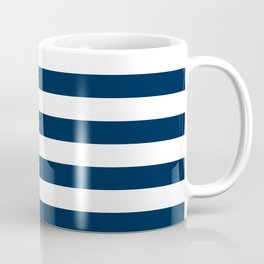 Narrow Horizontal Stripes - White and Oxford Blue Coffee Mug