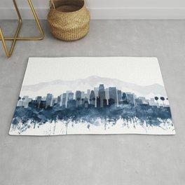 Los Angeles City Skyline Watercolor Blue by zouzounioart Rug