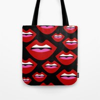 lips Tote Bags featuring Lips by Nastya Bo