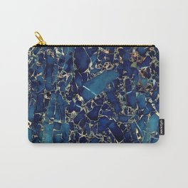 Dark blue stone marble abstract texture with gold streaks Carry-All Pouch