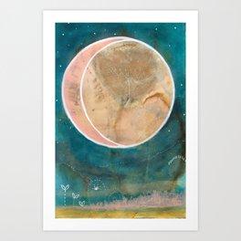Pink Eco Print Moon Art Print