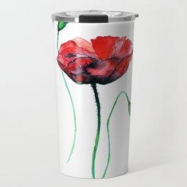 Poppy watercolor painting print Travel Mug