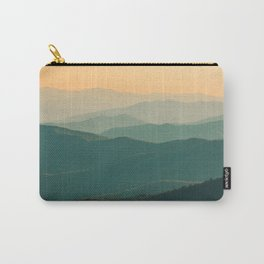Landscape Photography Teal Turquoise Green Parallax Mountains Hills Orange Sunset Sky Minimalist Pho Carry-All Pouch