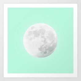 WHITE MOON + TEAL SKY Art Print