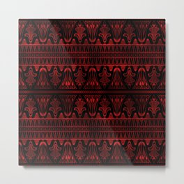 Egg and Dart Frieze in Black and Ruby Red Vintage Faux Foil Art Deco Vintage Foil Pattern Metal Print