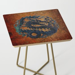 Blue Chinese Dragon on Stone Background Side Table