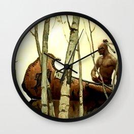 "N C Wyeth Vintage Western Painting ""Birchbark Canoe"" Wall Clock"