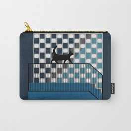 Black Cat in Blue Carry-All Pouch