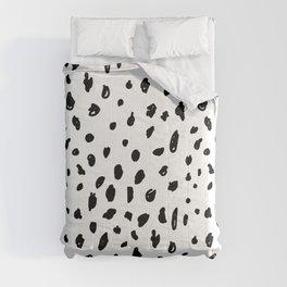 Black geometrical hand painted polka dots confetti pattern Comforters