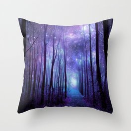 Fantasy Forest Path Icy Violet Blue Throw Pillow