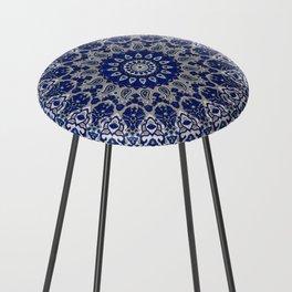 N33 - Blue Andalusian Bohemian Moroccan Mandala Artwork. Counter Stool