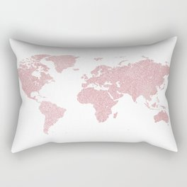 Blush Sprinkle World Map Rectangular Pillow