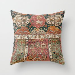 Persian Medallion Rug V // 16th Century Distressed Red Green Blue Flowery Colorful Ornate Pattern Throw Pillow