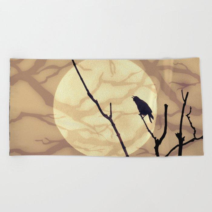 The Crow, The Moon, The Shadows Beach Towel