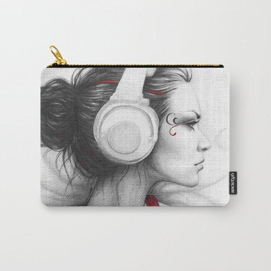 I Love Music | Girl in Headphones Carry-All Pouch