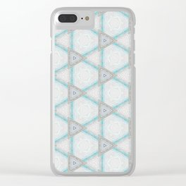 Decorative geometrical aqua white pattern design Clear iPhone Case