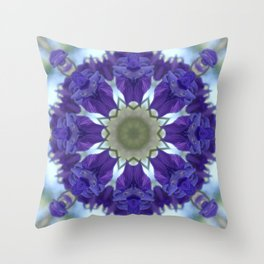 Blue columbine mandala 3 Throw Pillow