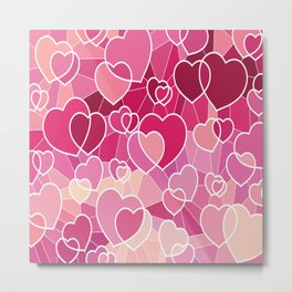 Happy Pink Hearts Metal Print