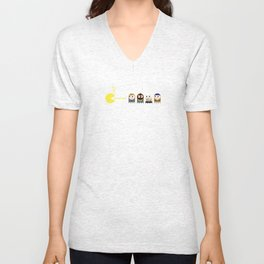Pacman with A-Team Ghosts Unisex V-Neck