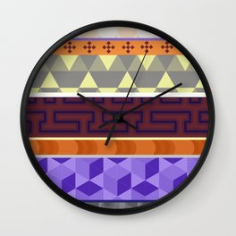 Multi Coloured Geometric Pattern Wall Clock