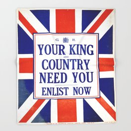 Vintage poster - Your King and Country Need You Throw Blanket