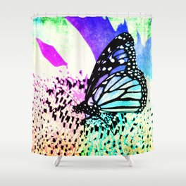 Beautiful Butterfly Sitting on a Flower with Colorful Background Shower Curtain