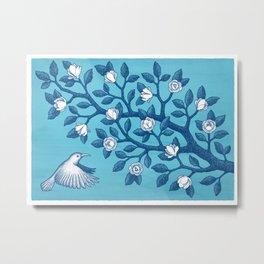 Magnolia branch in aqua and blue Metal Print