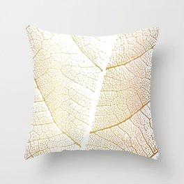 Gold Leaf Skeleton Tropical Abstract Botanical Boho Luxury  Throw Pillow