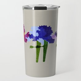 colorful iris screen print design Travel Mug