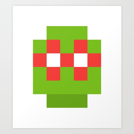 hero pixel green red Art Print