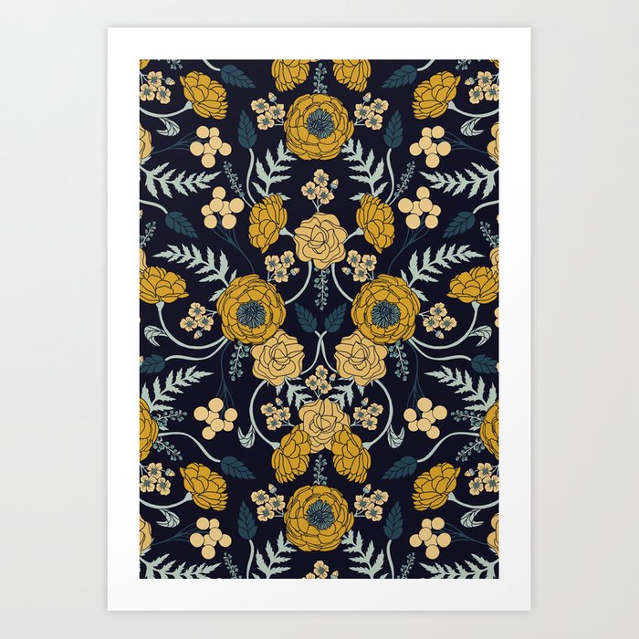Navy Blue, Turquoise, Cream & Mustard Yellow Dark Floral Pattern Kunstdrucke