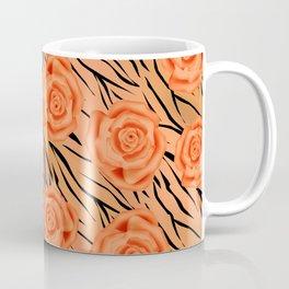 Orange roses on tiger background . Coffee Mug