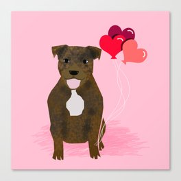 Pitbull love heart balloons valentines day gifts for pibble lovers Canvas Print